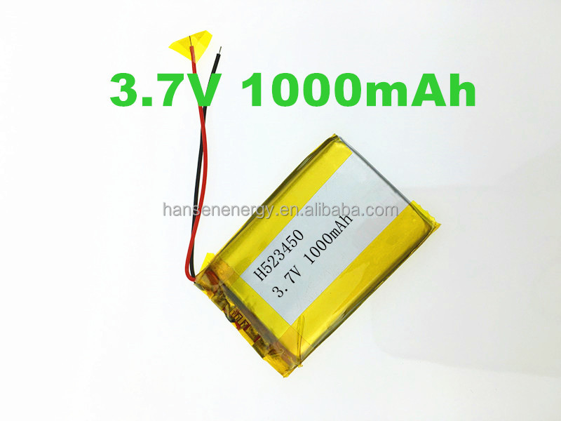 3.7V 1000mAh Rechargeable Battery hot selling 523450 3.7v lithium polymer 3.7 voltage 1000mah high capacity battery 523450