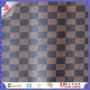 Grid pattern black filament fabric printing faux leather for wallet