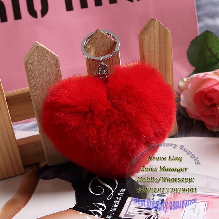 Fox Fur Ball With Heart shape /Fur Pom poms /New Style Red Fur Balls Keychain Keyring Key chain