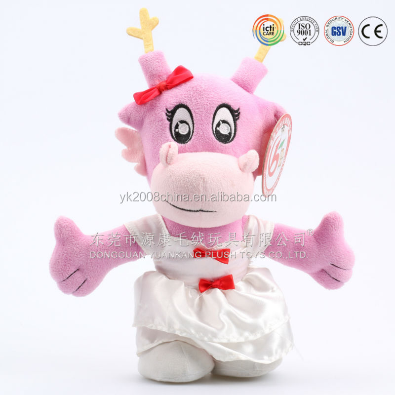 Factory low MOQ toothless dragon toys,stuffed pink dragon with dressed