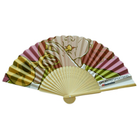 Promotional custom printed bamboo paper folding hand fan
