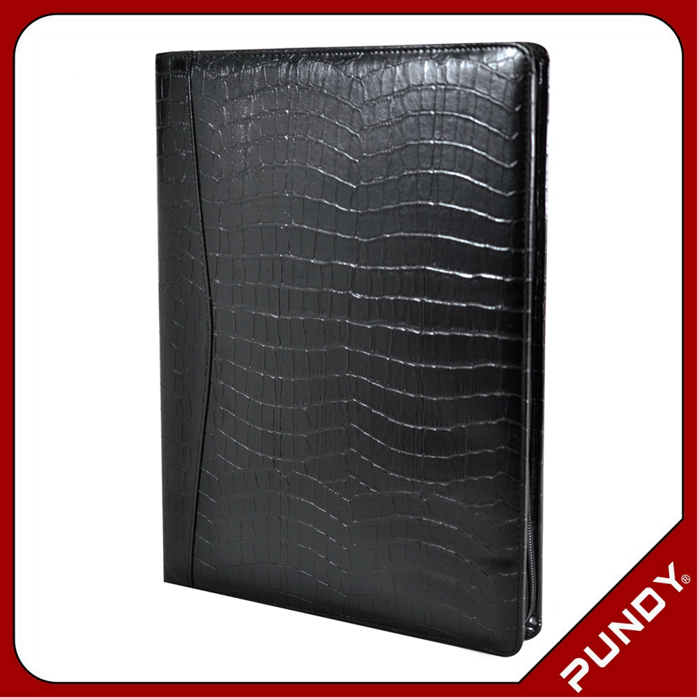 taiwan factory genuine leather black document folder with pen holder
