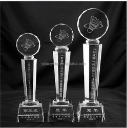 customized Souvenir gift tree shaped crystal trophies for badminton
