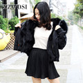 CX-G-P-19C Custom Short Style Black Real Fur Parka With Big Hooded