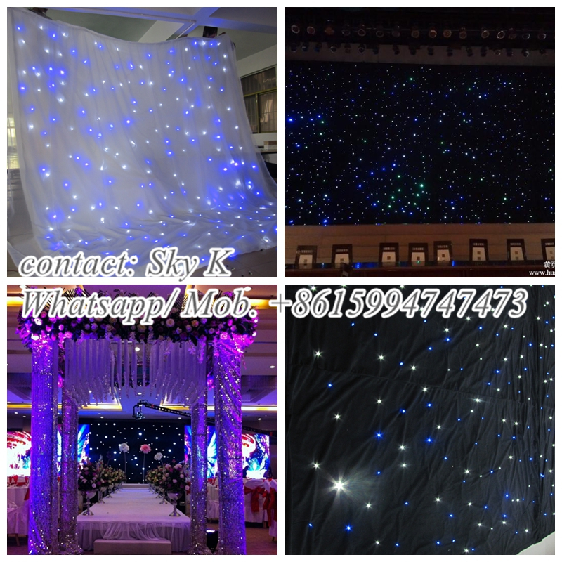 2015newest curtain home textiles fiber optical clothes/ led star curtain