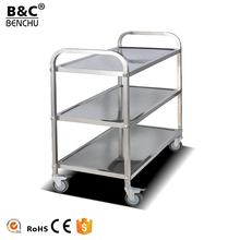 Stainless Steel Mobile Food Cart / Restaurant Food Catering Service Transport Trolley for Sale