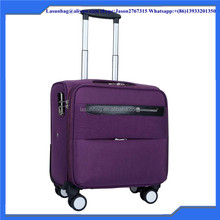 Purple color fabric washing canvas boarding luggage sets bag shockproof wheel trolley bag