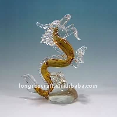 Dragon Shaped Colored Glass Tabletop