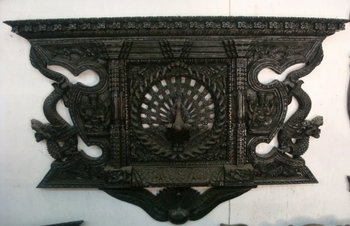 Wooden Wall Hanging Carved Peacock Window Nepal