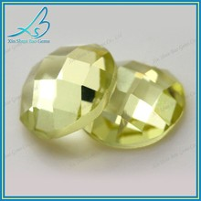 Exquisite light yellow flat back wholesale synthetic glass gems