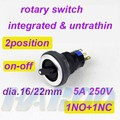 dia.16/22mm electrical selector switch 2position selector rotary switch self-locking,on-off 5A 250V