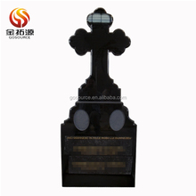 pure Shanxi Black cheap granite cross tombstone prices