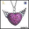 Luxurious Sterling Silver Angel Wing Necklace Heart And Wing Pave Pendant Jewelry