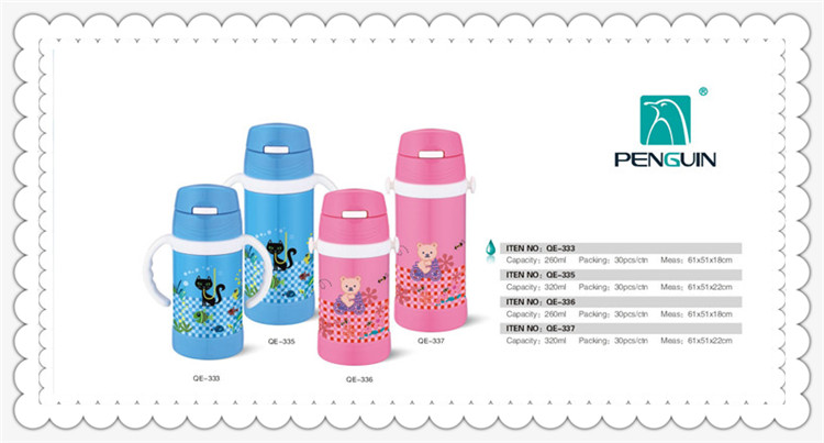 double wall cartoon stinless steel vacuum children bottle vacuum flask thermos