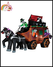 Inflatable Haunted House & Horse Carriage Halloween Decorations