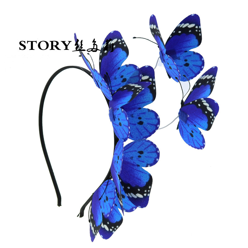 Fairy tale pin up Halloween princess girl baby adult woodland Monarch blue Butterfly headband <strong>hair</strong> <strong>accessory</strong>