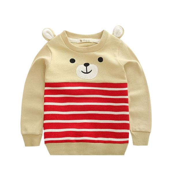 MS67312C Korean fashion bear ear striped kids long sleeve sweatshirt