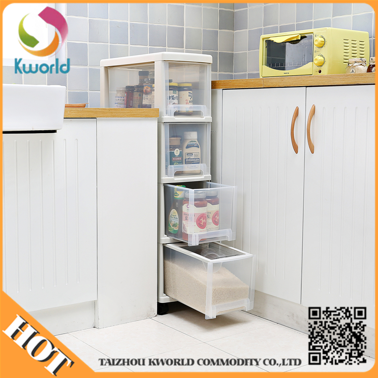 Waterproof Plastic Kitchen Food Storage Box tall thin storage drawer cabinet