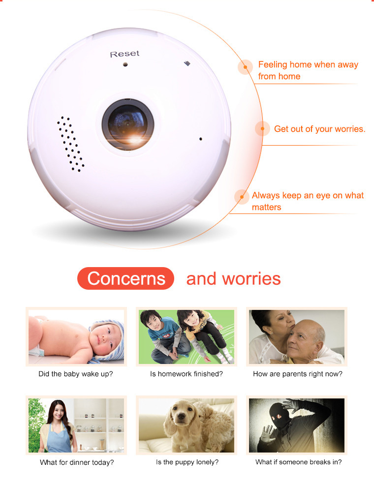 Wireless 360 Degrees VR Fisheye Panoramic IP Camera Home Surveillance