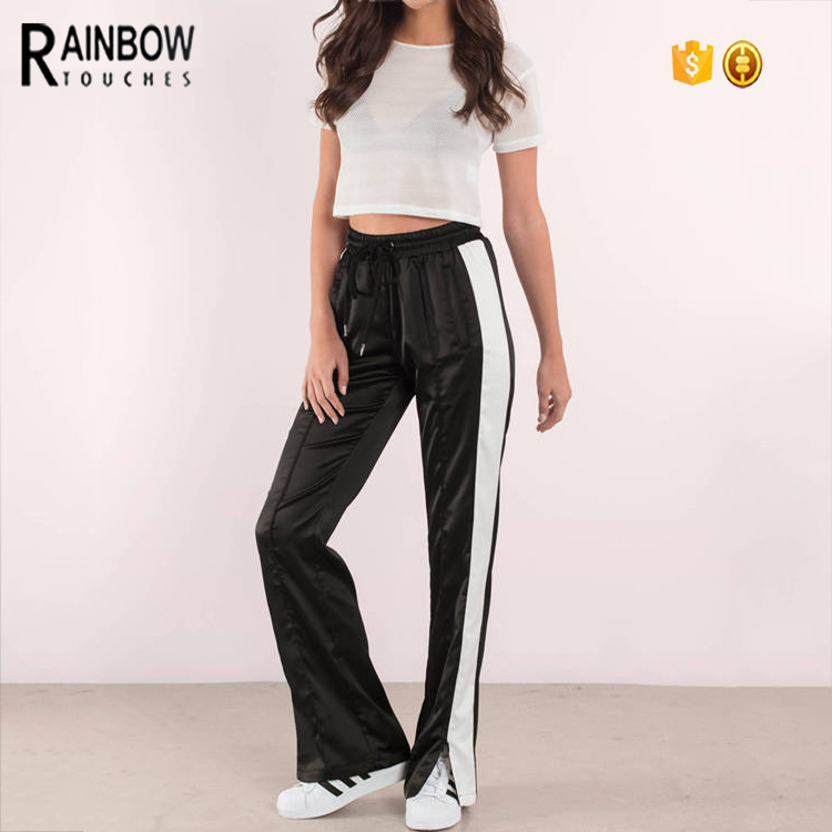Slim Fit Polyester Spandex Seam Striped Panel Wholesale Custom Track Pants