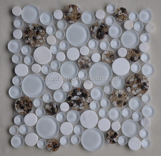Bubble round crystal glass tiles