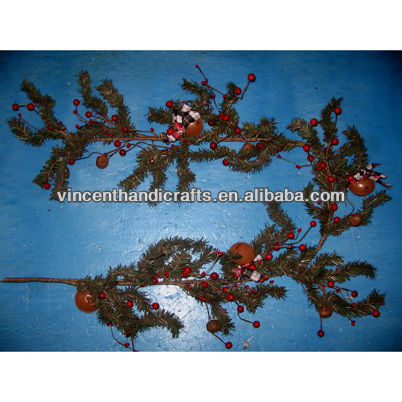Decorative pine needle garland with bells