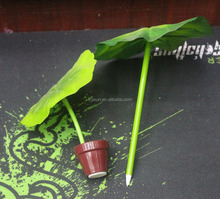 Unique design green lotus leaf promotional logo ball pen