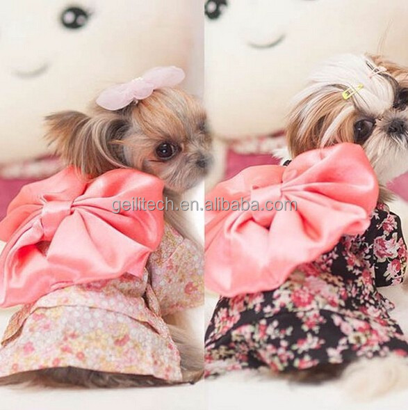 NEW Pet Clothing Dog Pet New Clothes Floral Japanese Kimono Bow Tie Shirt Costume Princess Dress