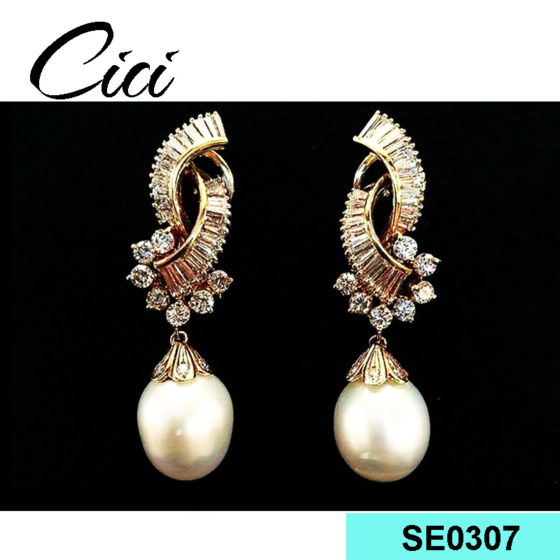 2017 fashionable handmade pearl Earring with bow design jewelry