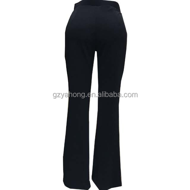 Wholesale High Quality and Floral embroidery casual mature women black Bell Bottom Pants#85994