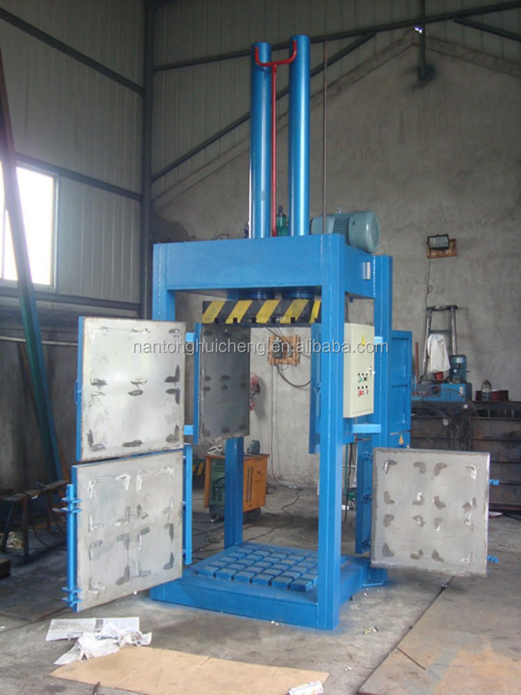 hydraulic waste fabric and scrap textile baler press machine with four door open