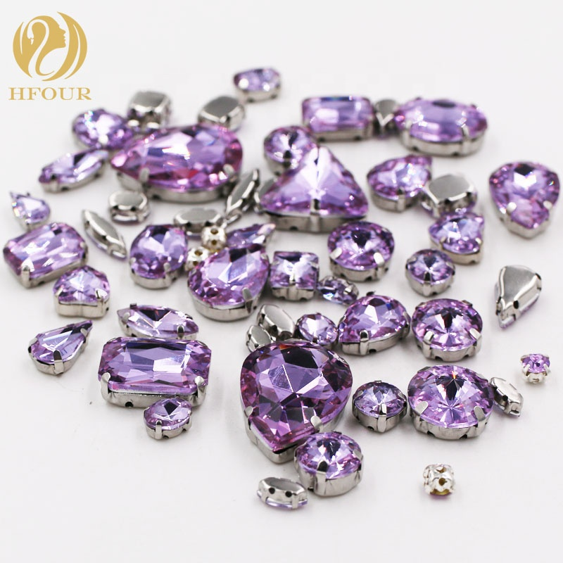<strong>Crystal</strong> Violet Mixed Shape Silver Claw Sew on Rhinestones