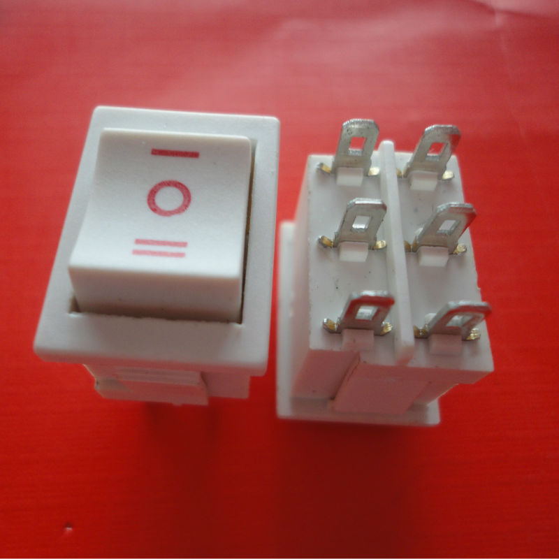On-Off-On 6 pins White double Pole Rocker Switch