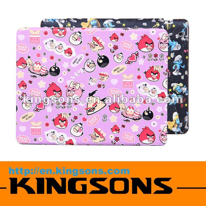 Hot! 2012 leather case for ipad, cartoon print! for ipad case PVC at competitive price