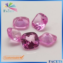 FACETS GEMS Synthetic 2# Ruby Light Rose Cushion Cut Ruby Price Per Carat