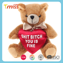 Lovely plush teddy bear toys with a red heart for valentine day gift