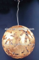 china supplier new product golden or silver paper metal Round Ball led pendant lighting