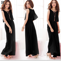 Elegant Beach Vestido Ankle-Length Chiffon Plus Size big loose sleeveless dress