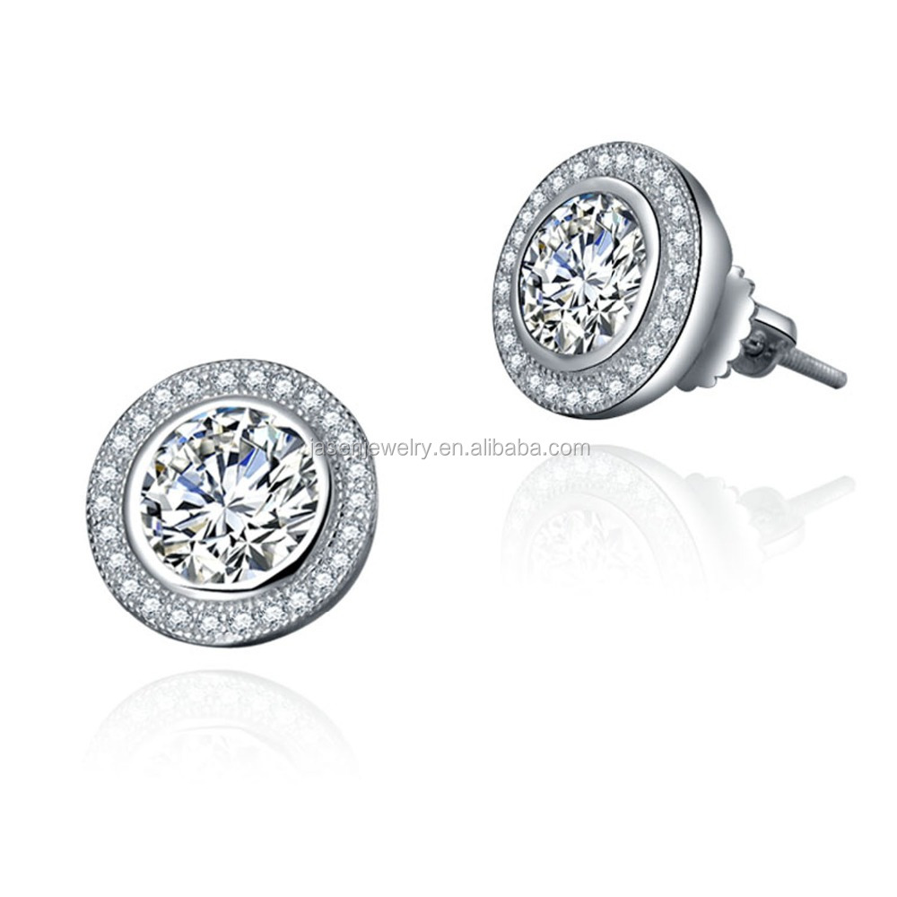 Round Shape Rhodium Plated 925 Sterling Silver Stud Earrings