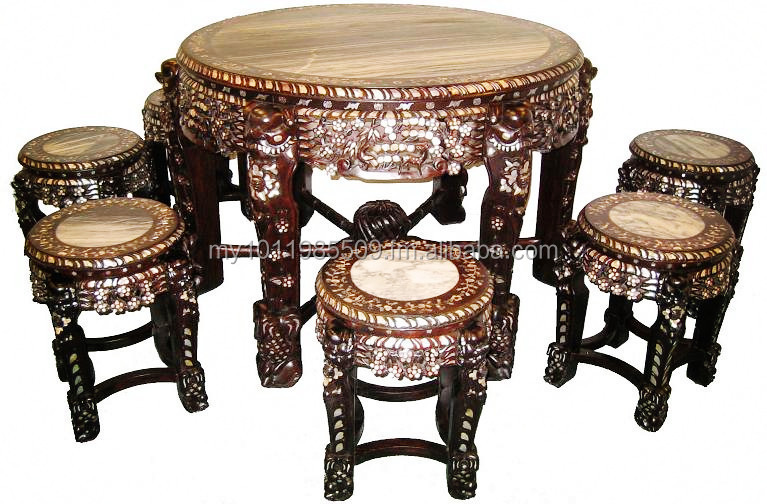 Mother of Pearl (MOP) Inlaid Round Table Set (7pcs)