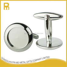 Wholesale no mold fee 12mm DIY blank sliver cufflinks with epoxy resin covering
