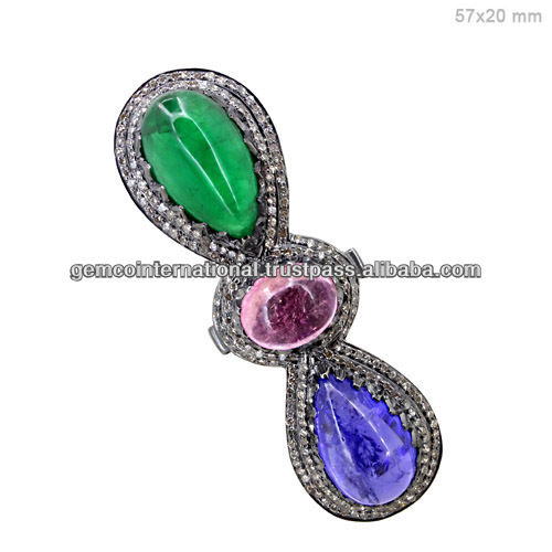 925 Sterling Silver Pave Diamond Natural Multi Color Stones Ring Gemstone Jewelry Wholesaler