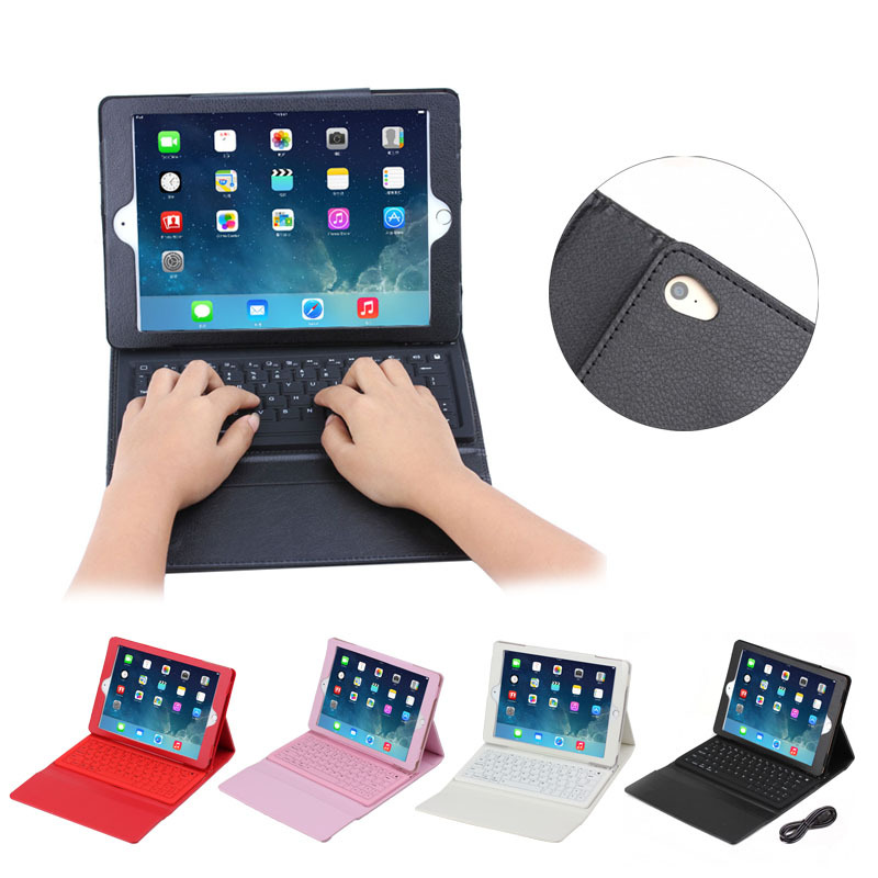 Litchi pattern bluetooth keyboard leather case for iPad Air 2,tablet keyboard