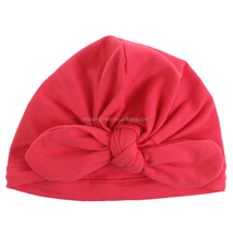 Amazon hotsale baby soft jersey hat with bowknot