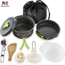 Outdoors Camping Cookware Mess Kit With Cool Touch Silicone Handles