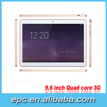 2016 Hot Sale 9.6 inch MTK6582 Quad Core Android 4.4 OS Bluetooth+3G+GPS SIM 1280*800 IPS 1GB+16GB Tablet Pc