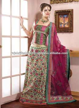 Brocket Lehenga Saree With Reshem Work