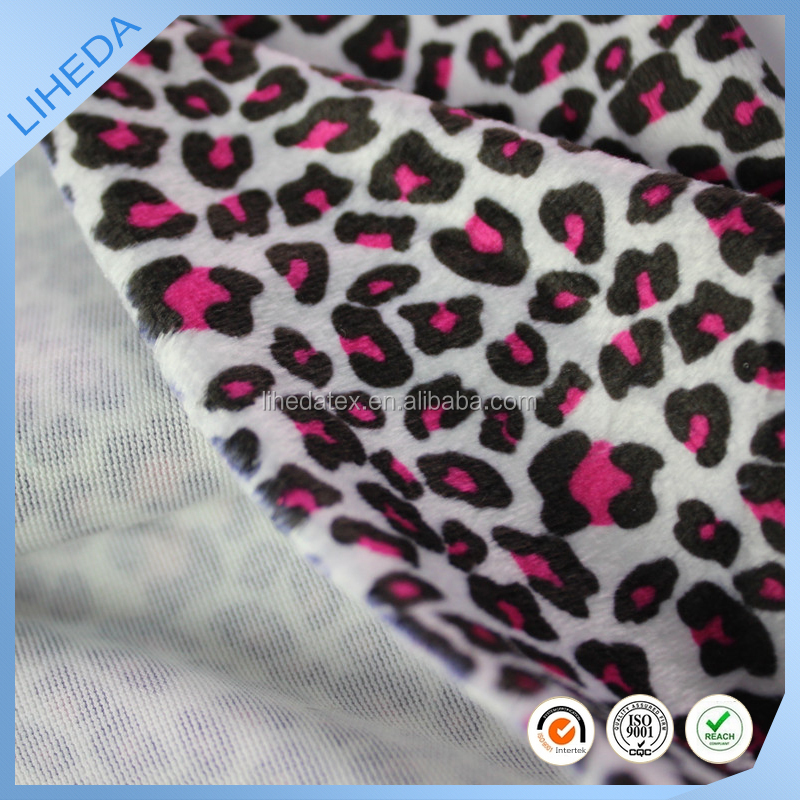 Printed Leopard grain velboa used for toys/sofa/clothing/car/home textile/cushion