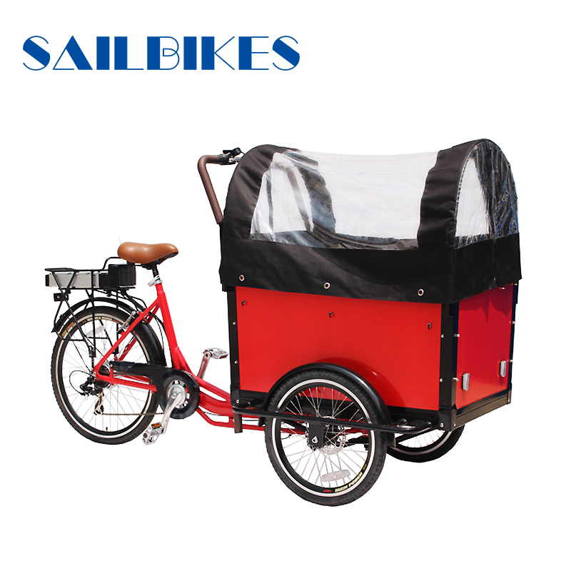 Electric new closed cabin cargo tricycle