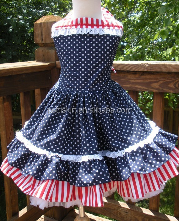 2015 hot sale girls 4th of July dress princedd welcom home dress